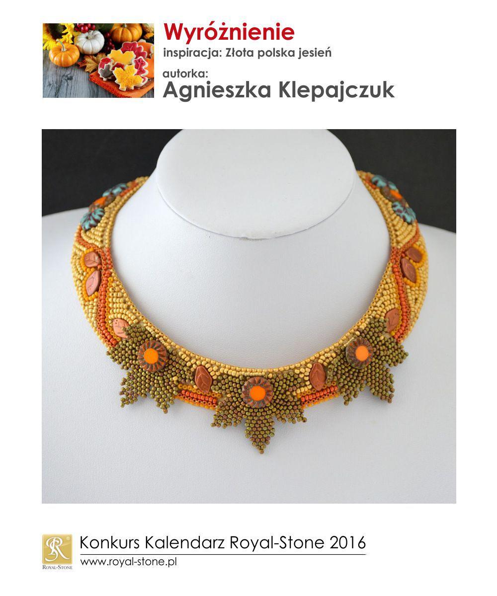 Złota polska jesień wyróżnienie Agnieszka Klepajczuk biżuteria beading Royal-Stone
