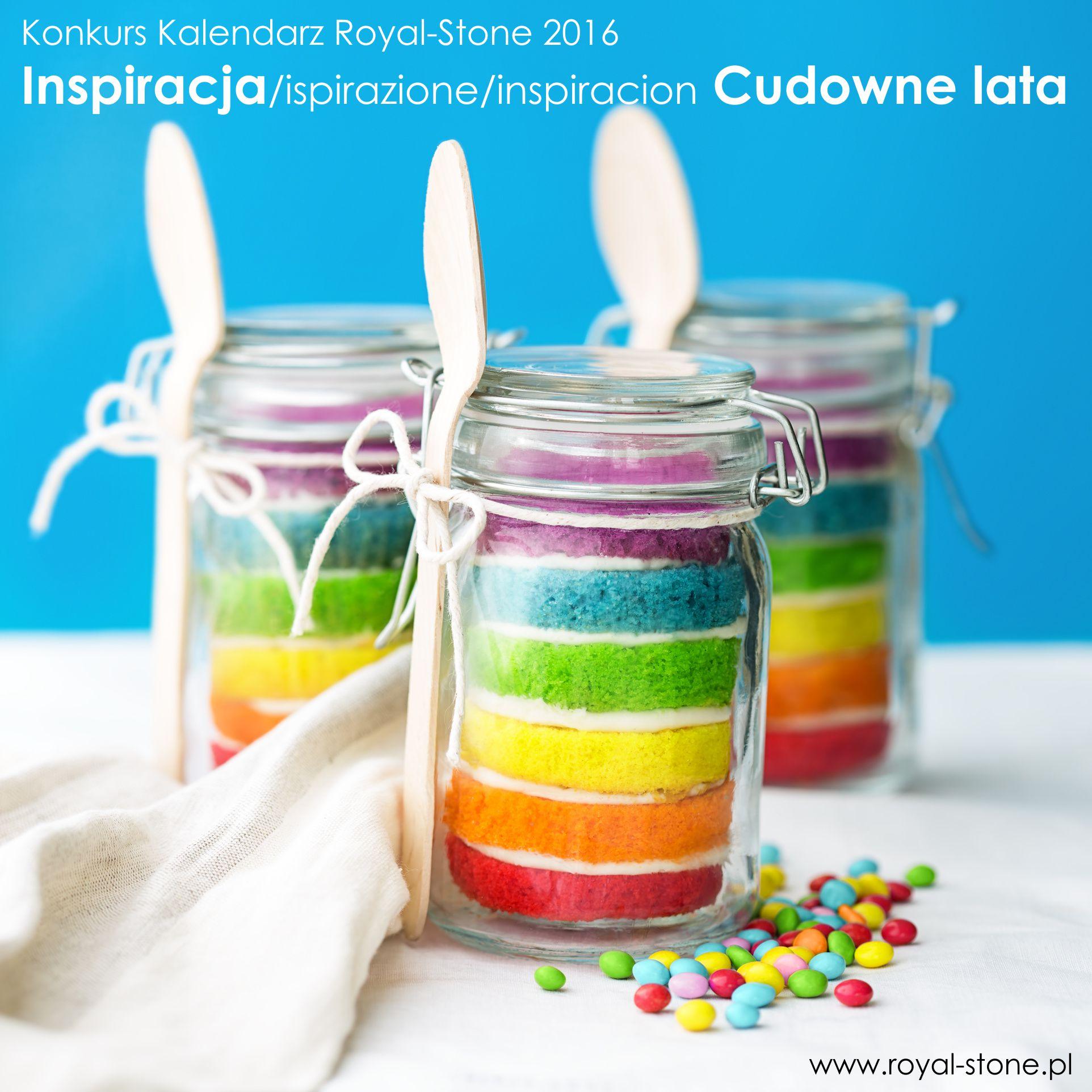 Jars of mini rainbow cake