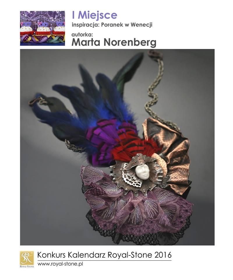 01 Marta Norenberg Sztuk Kilka I miejsce Konkurs biżuteria Royal-Stone Poranek w Wenecji miedź porcelana pióra naszyjnik