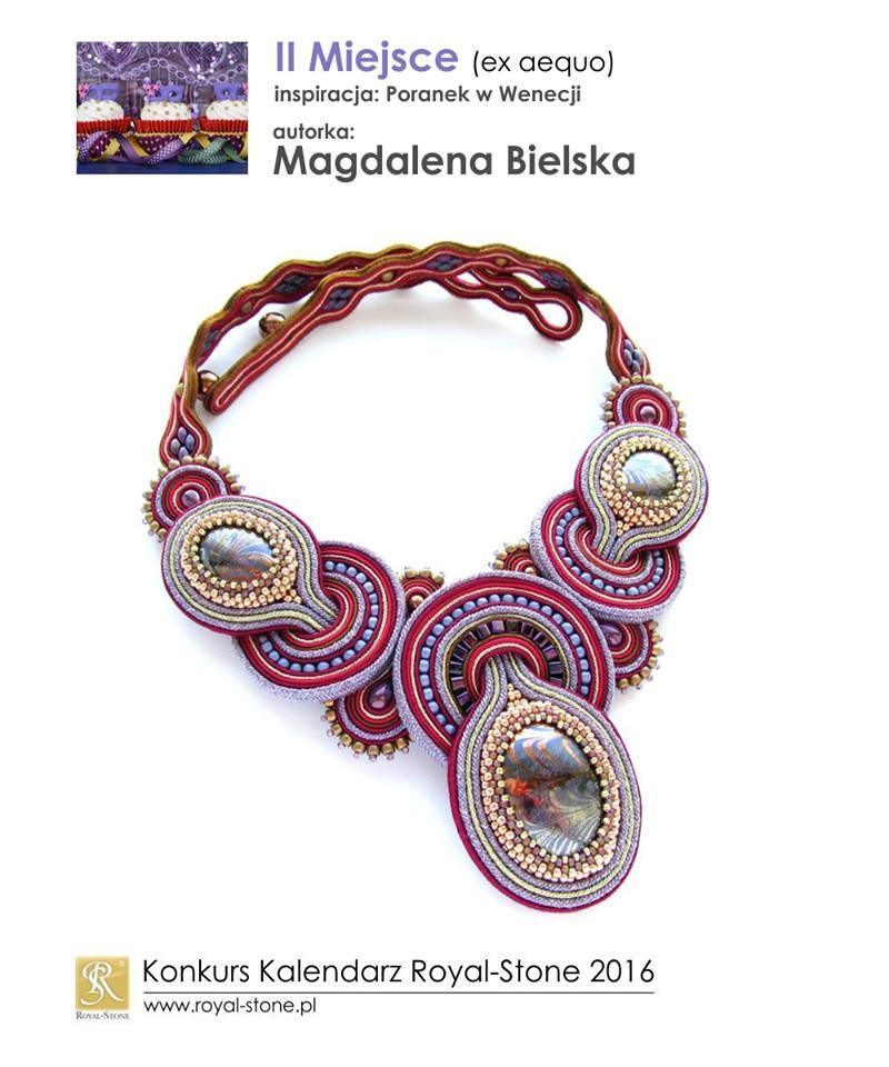 Magdalena Bielska II miejsce ex aequo Konkurs biżuteria Royal-Stone Poranek w Wenecji sutasz beading  naszyjnik