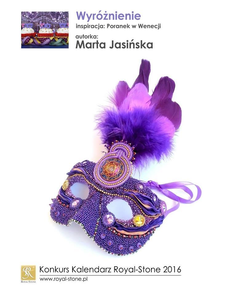 Marta Jasińska wyróżnienie Konkurs biżuteria Royal-Stone Poranek w Wenecji beading  maska wenecka