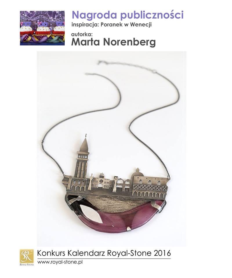 Marta Norenberg Sztuk Kilka Nagroda publiczności Konkurs biżuteria Royal-Stone Poranek w Wenecji miedź porcelana pióra naszyjnik