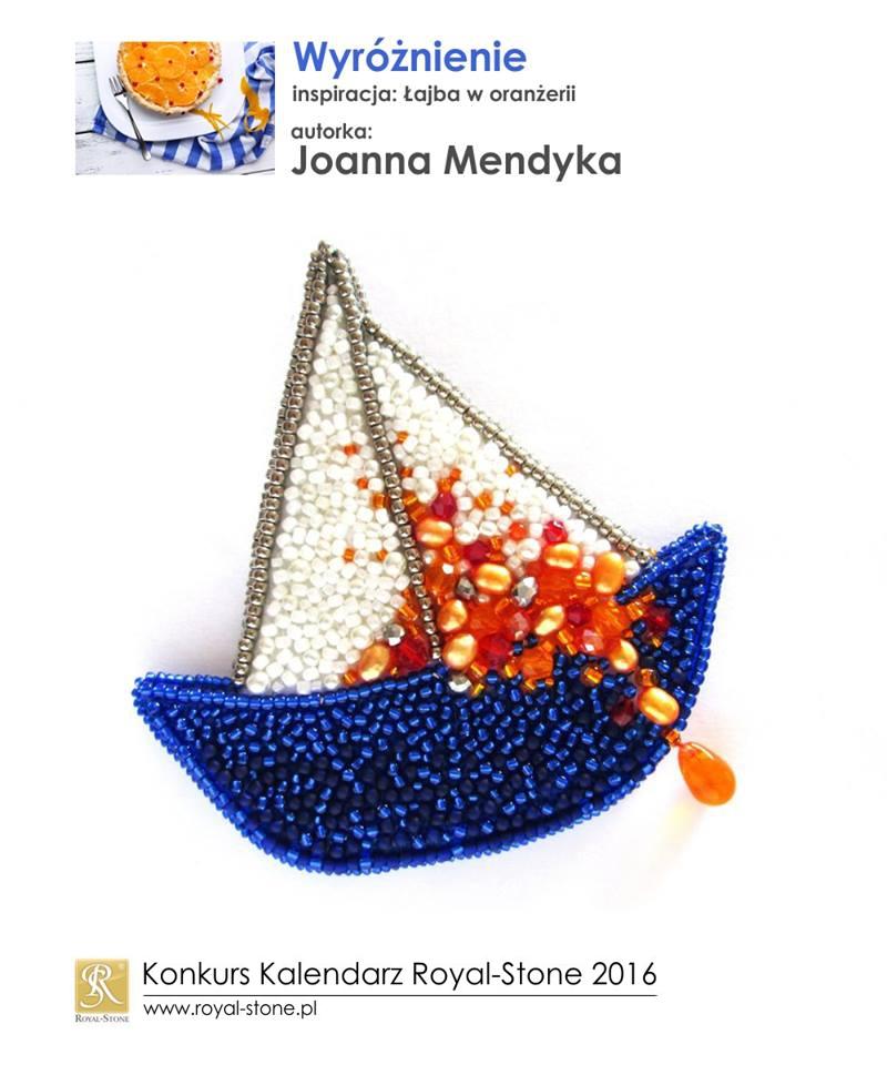 oanna Mendyka wyróżnienie Konkurs biżuteryjny Kalendarz Royal-Stone 2016 inspiracja Łajba w oranżerii beading zawieszka broszka