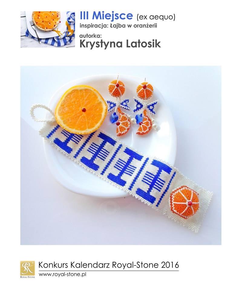Krystyna Latosik III miejsce ex aequo Konkurs biżuteryjny Kalendarz Royal-Stone 2016 inspiracja Łajba w oranżerii beading bransoletka bracelet
