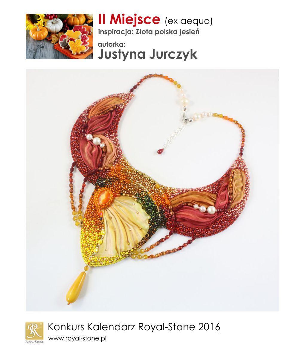 Złota polska jesień II miejsce Justyna Jurczyk biżuteria shibori beading Royal-Stone