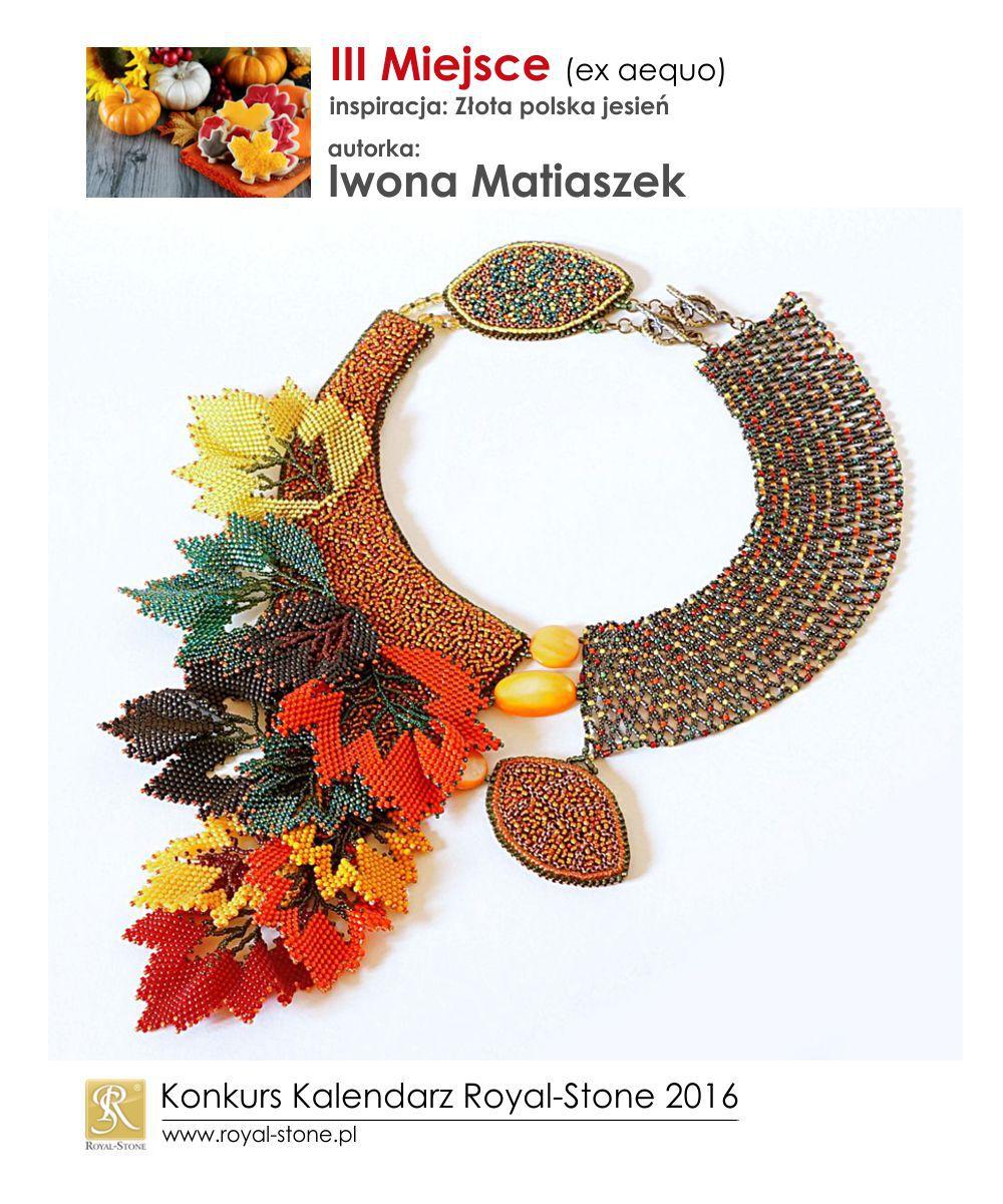 Złota polska jesień III miejsce Iwona Matiaszek biżuteria beading  Royal-Stone
