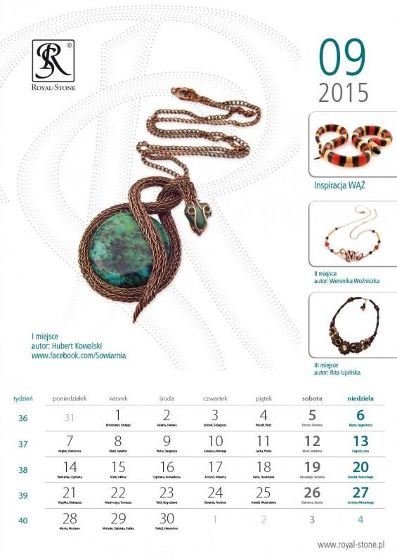 Kartka z kalendarza Kalendarz Royal-Stone 2015 wrzesień Kubert Kowalski