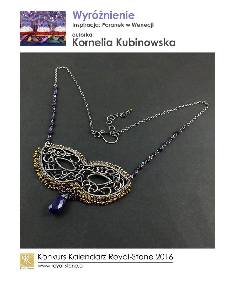 Kornelia Kubinowska wyróżnienie Konkurs biżuteria Royal-Stone Poranek w Wenecji wire wraping maska wenecka