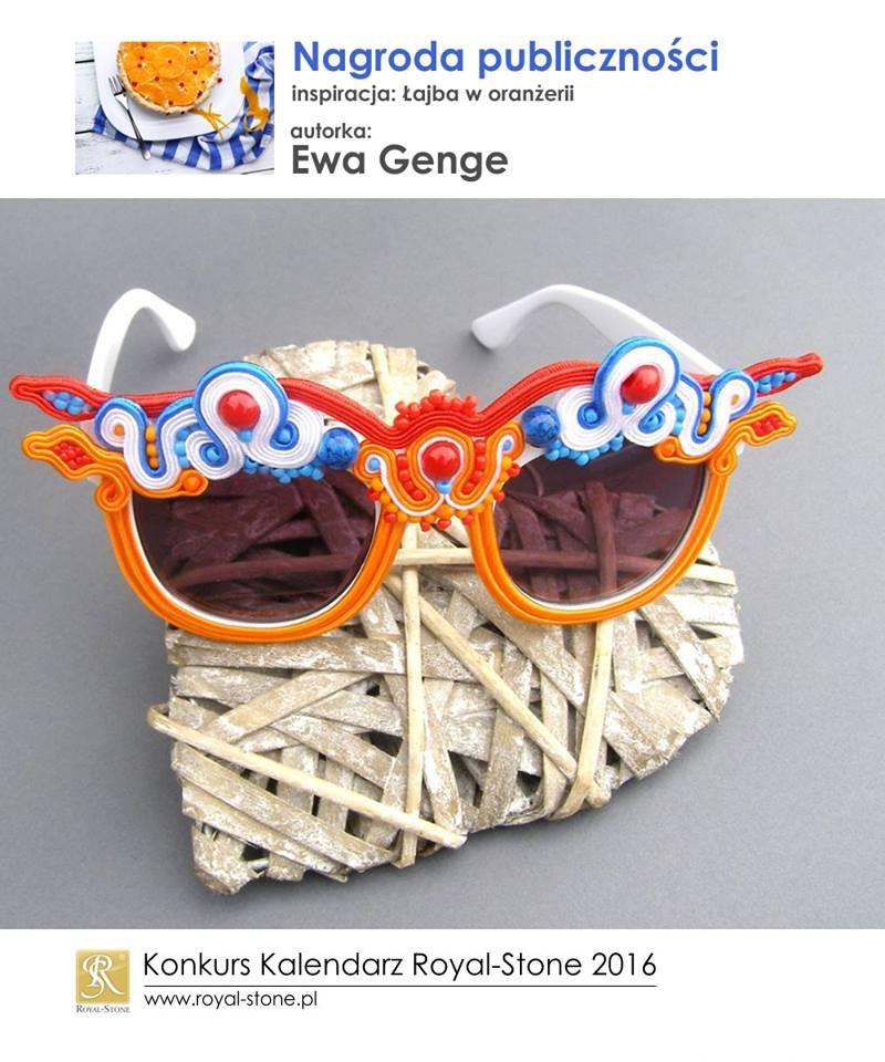 Ewa Genge nagroda publiczności Konkurs biżuteryjny Kalendarz Royal-Stone 2016 inspiracja Łajba w oranżerii sutasz soutache okulary