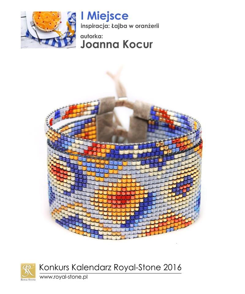 Joanna Kocur Djenka I miejsce Konkurs biżuteryjny Kalendarz Royal-Stone 2016 inspiracja Łajba w oranżerii beading bransoletka bracelet