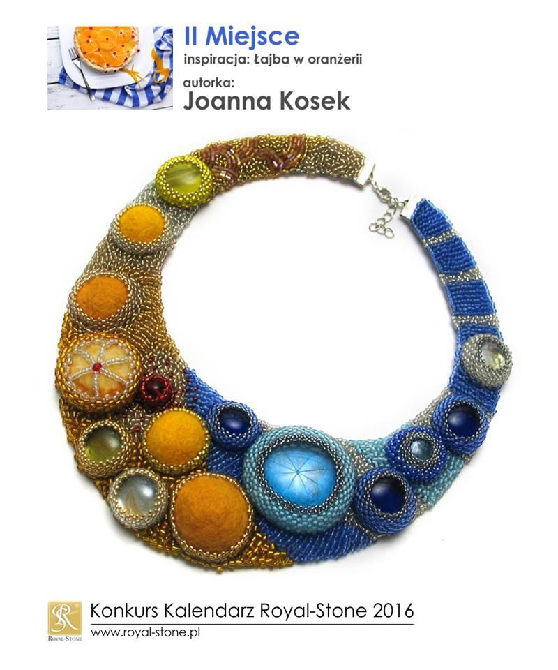 Joanna Kosek II miejsce Konkurs biżuteryjny Kalendarz Royal-Stone 2016 inspiracja Łajba w oranżerii beading filc naszyjnik