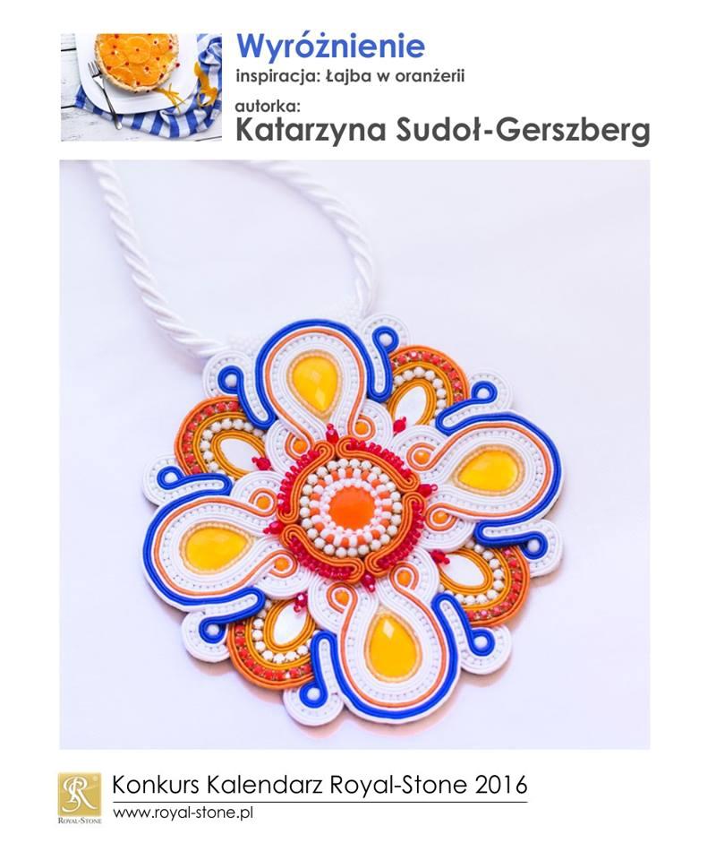 Katarzyna Sudoł-Gerszberg  wyróżnienie Konkurs biżuteryjny Kalendarz Royal-Stone 2016 inspiracja Łajba w oranżerii sutasz soutache naszyjnik