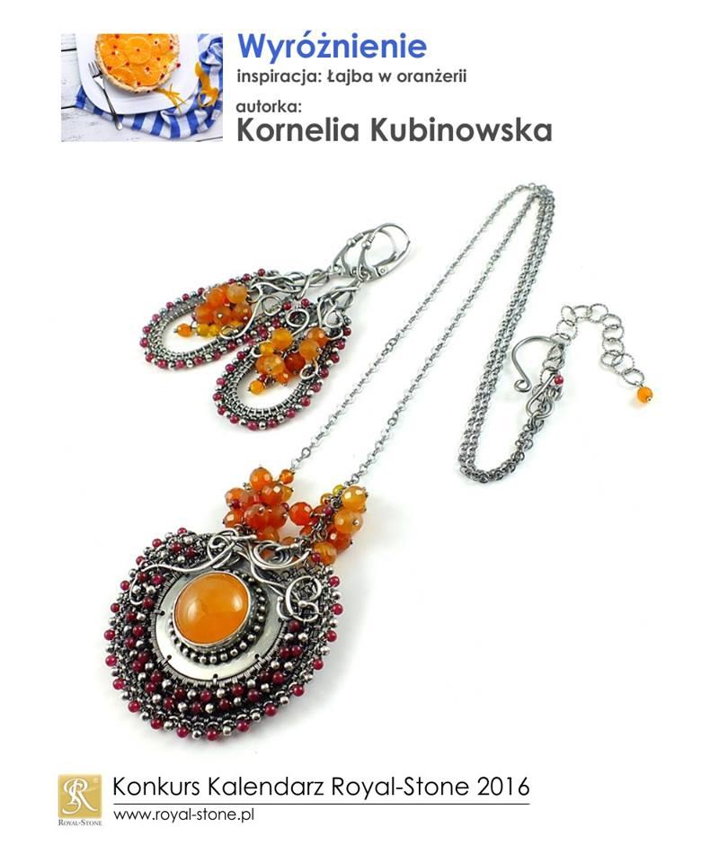 Kornelia Kubinowska wyróżnienie Konkurs biżuteryjny Kalendarz Royal-Stone 2016 inspiracja Łajba w oranżerii wire wraping naszyjnik kolczyki