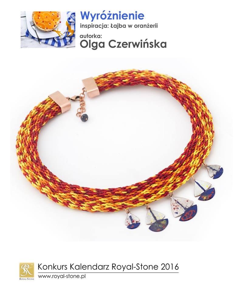 Olga Czerwińska wyróżnienie Konkurs biżuteryjny Kalendarz Royal-Stone 2016 inspiracja Łajba w oranżerii naszyjnik