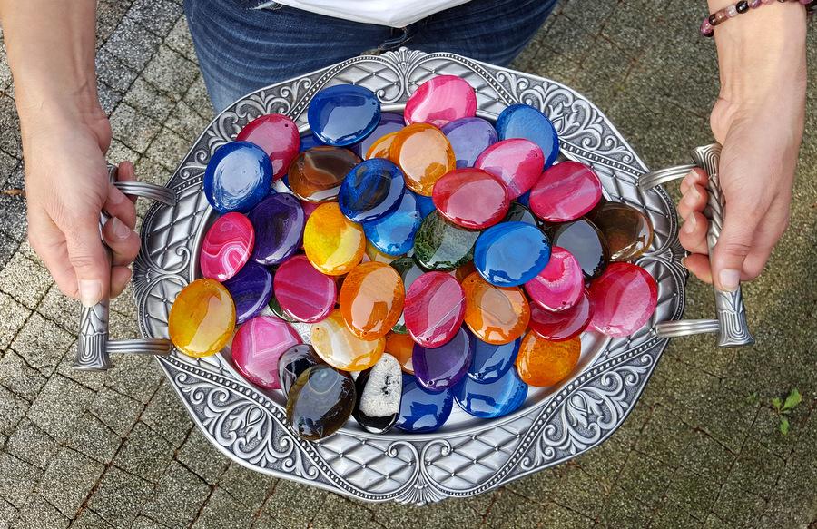Agaty kolorowe plastry na zawieszki