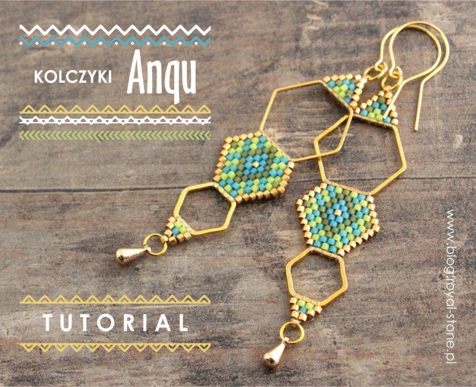 Kolczyki Anqu na bazach geometrycznych ścieg brick