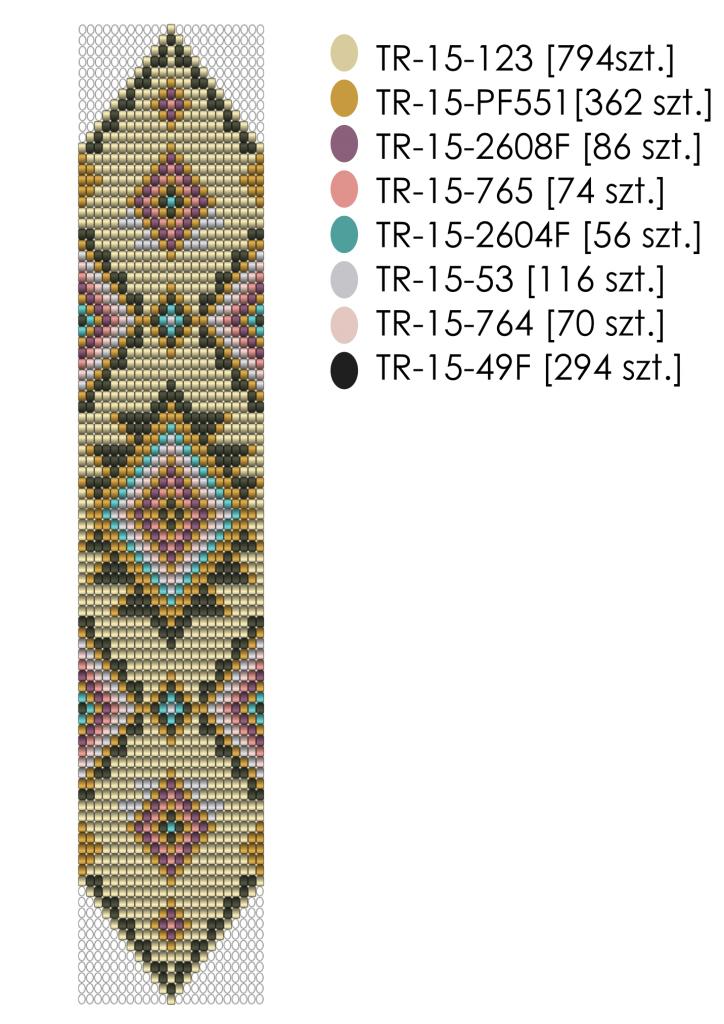 Wzór bransoletki tkanej na krośnie  zakończonej w trójkąt - schemat kolorystyczny