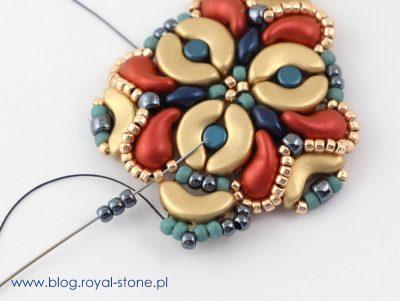 Beatrice - beadingowe kolczyki z ZoliDuo, SuperDuo, Arcos par Puca i Minos par Puca
