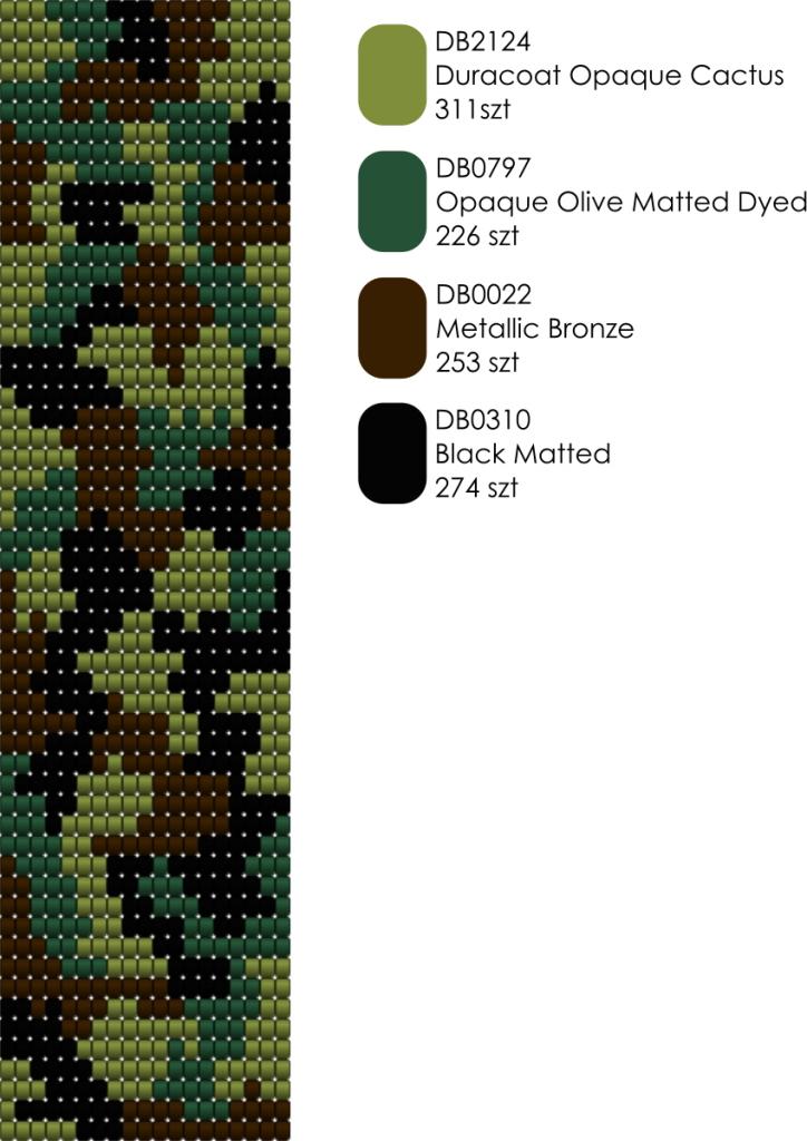 Bransoletka tkana na krośnie wzór schemat kolorystyczny