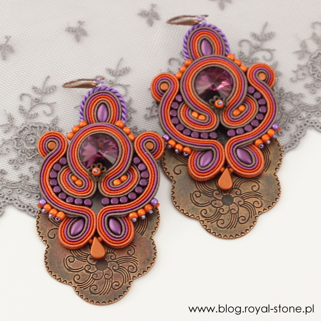 Kolczyki sutasz Autumn Hues z kryształem Swarovski Rivoli W kolorze Amethyst