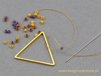 Kolczyki ściegiem brick na bazach geometryvznych Geometrix.