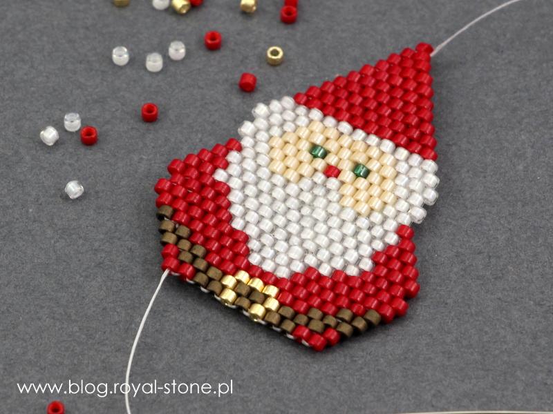 Kolczyki ściegiem brick Mikołaje od royal-stone