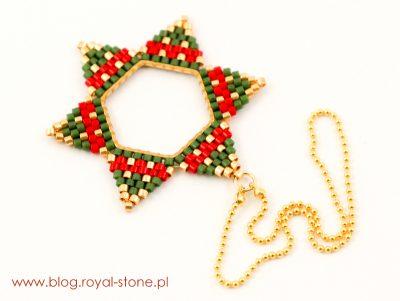 gwiazda na choinkę z koralików Miyuki Delica
