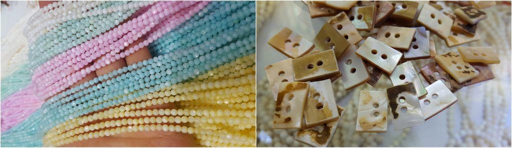 kuleczki muszli i guziki z masy perłowej