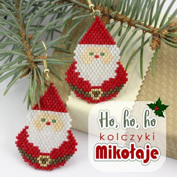 Kolczyki Mikołaje wykonane ściegiem brick - tutorial royal-stone