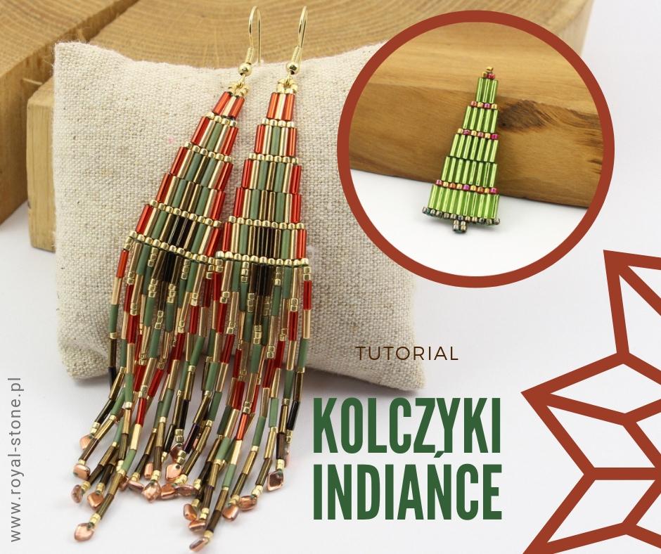 Indiańce – długie kolczyki z koralików Bugle, wykonane ściegiem brick stich