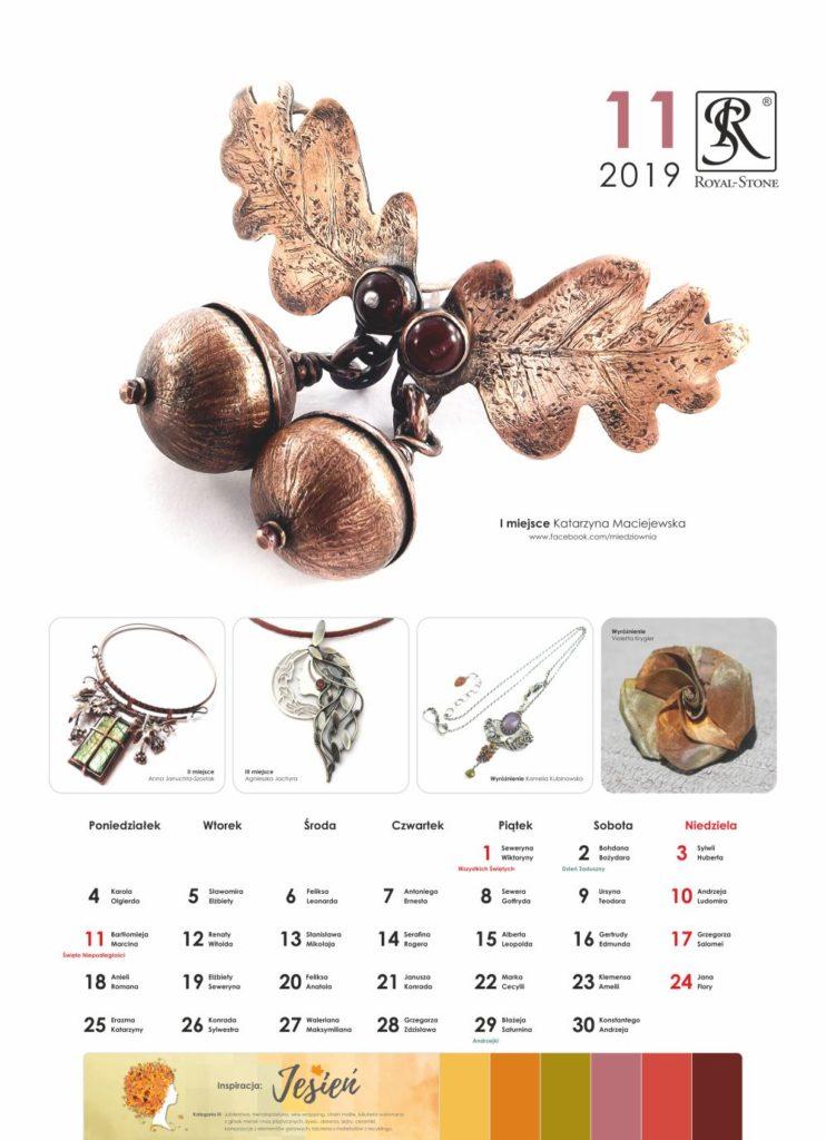 Kartka z Kalendarza biżuteryjnego Royal-Stone. Listopad 2019