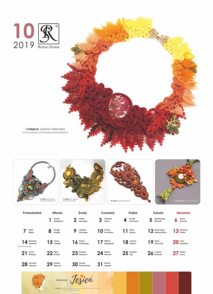 Kartka z Kalendarza biżuteryjnego Royal-Stone. Październik 2019