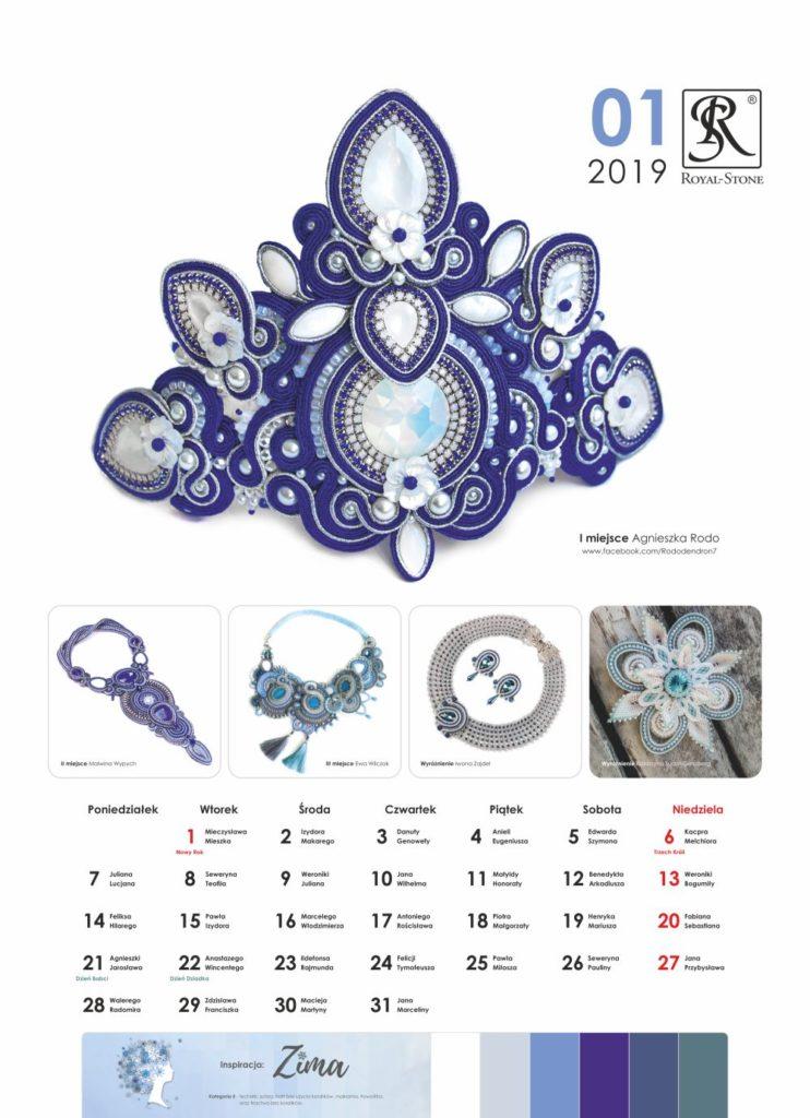 Kartka z Kalendarza biżuteryjnego Royal-Stone. Styczeń 2019