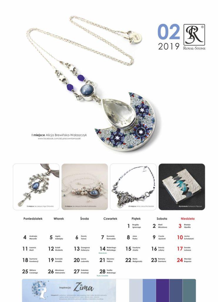 Kartka z Kalendarza biżuteryjnego Royal-Stone. Luty 2019