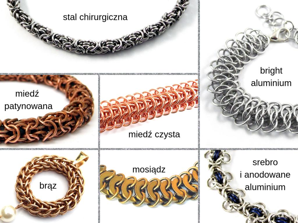 Biżuteria chain maille ze stali chirurgicznej i innych materiałów