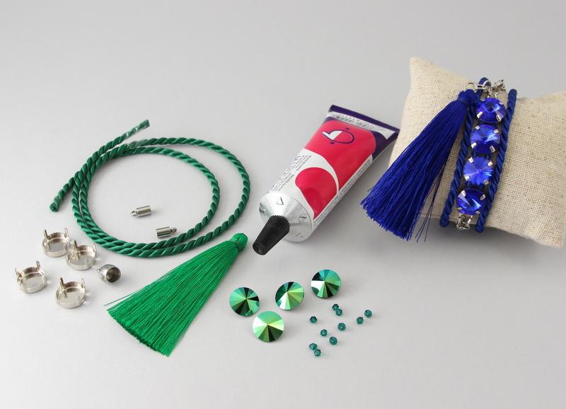 Materiały potrzebne do zrobienia bransoletki ze sznurka i kryształów Rivoli Swarovski