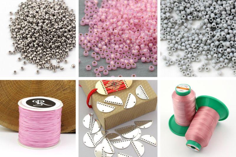 Bransoletka z elementami makramy i metalowymi bazami - potrzebne materiały