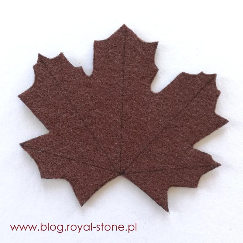 Broszka haftowana bajorkiem - liść, royal-stone.pl