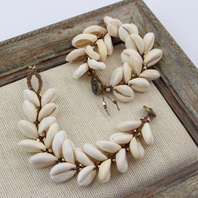 muszla kauri - bransoletka makramowa ze sznurka
