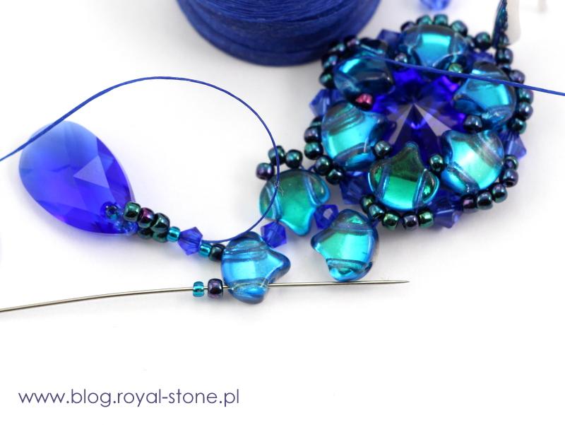 doszycie kryształkowej kropli pear shaped pendant do rozetki z koralików ginko matubo
