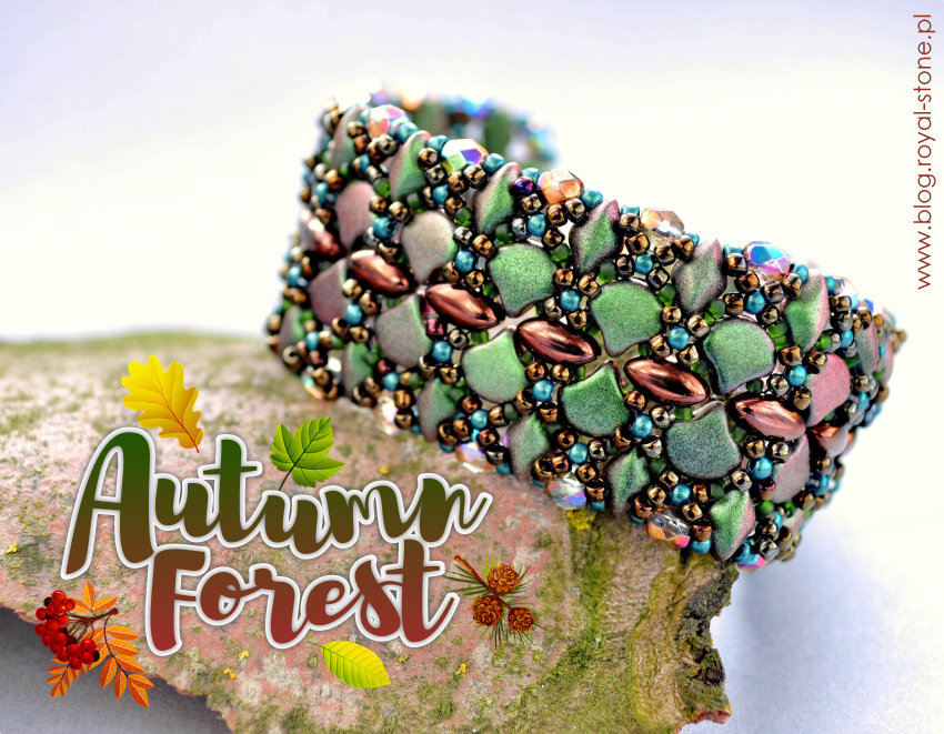 Bransoletka pleciona z koralików - Autumn Forest