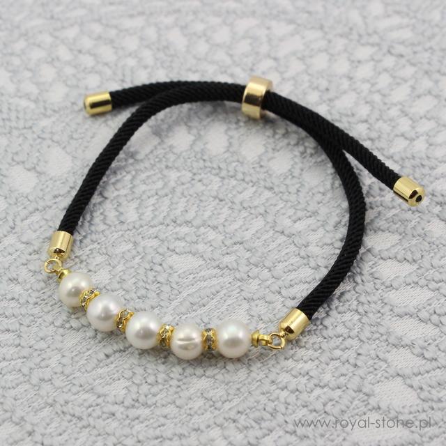 gotowa bransoletka z pereł i bazy sznurkowej