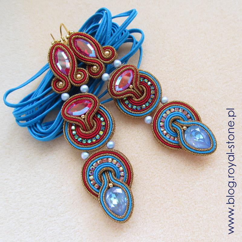 kolczyki sutaszowe z kryształami i perłami Swarovski