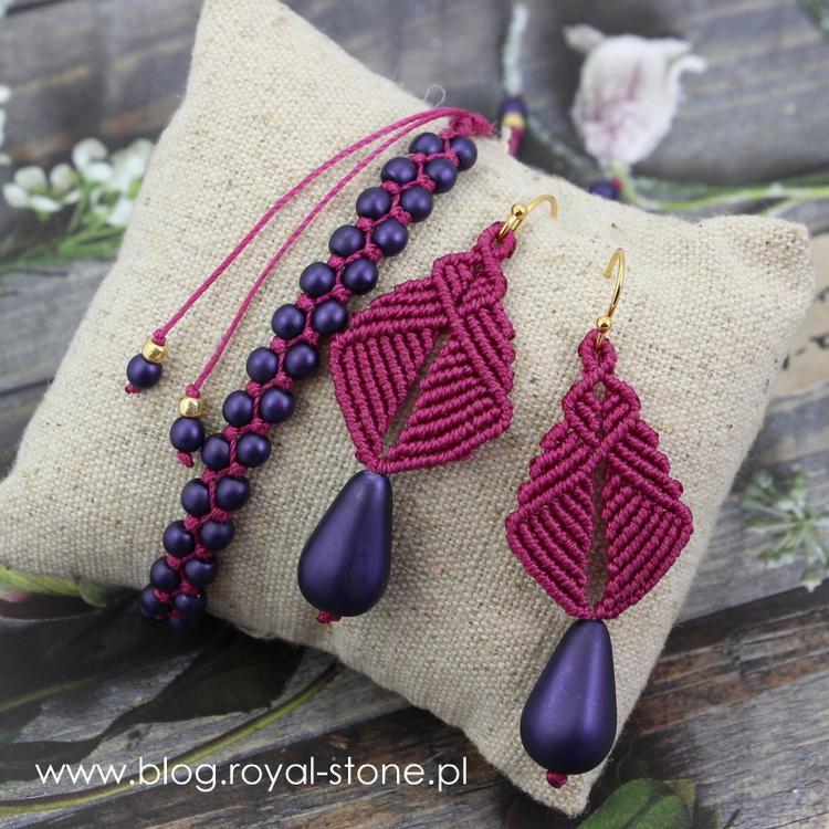 Komplet biżuterii z makramy