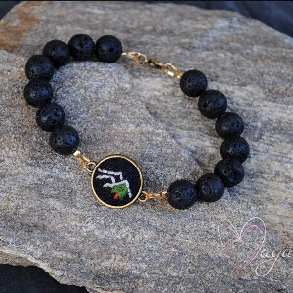 Czarna bransoletka z naturalnych kamieni