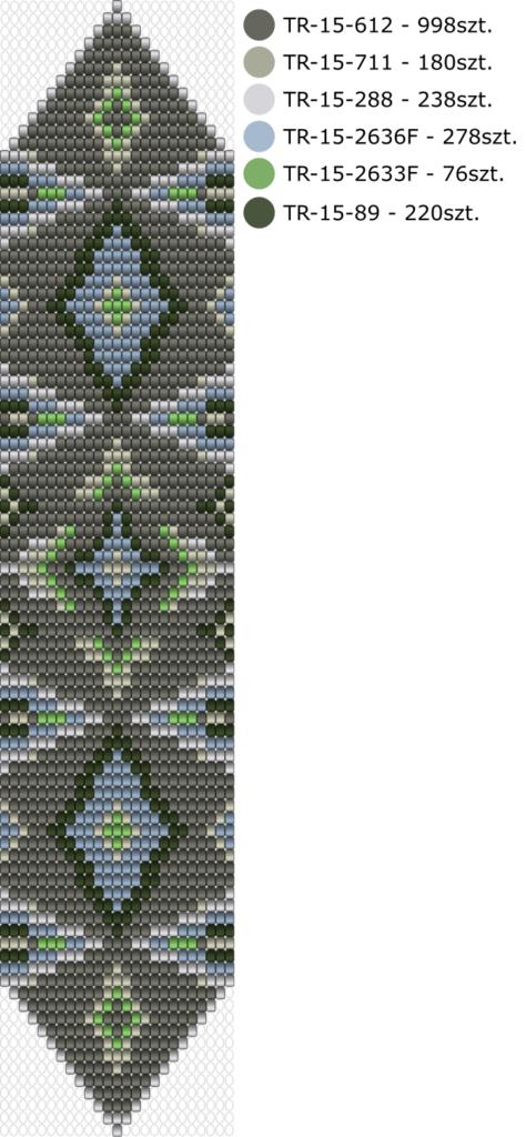Darmowy schemat na bransoletkę na krośnie - Gunmetal Krosno wzór