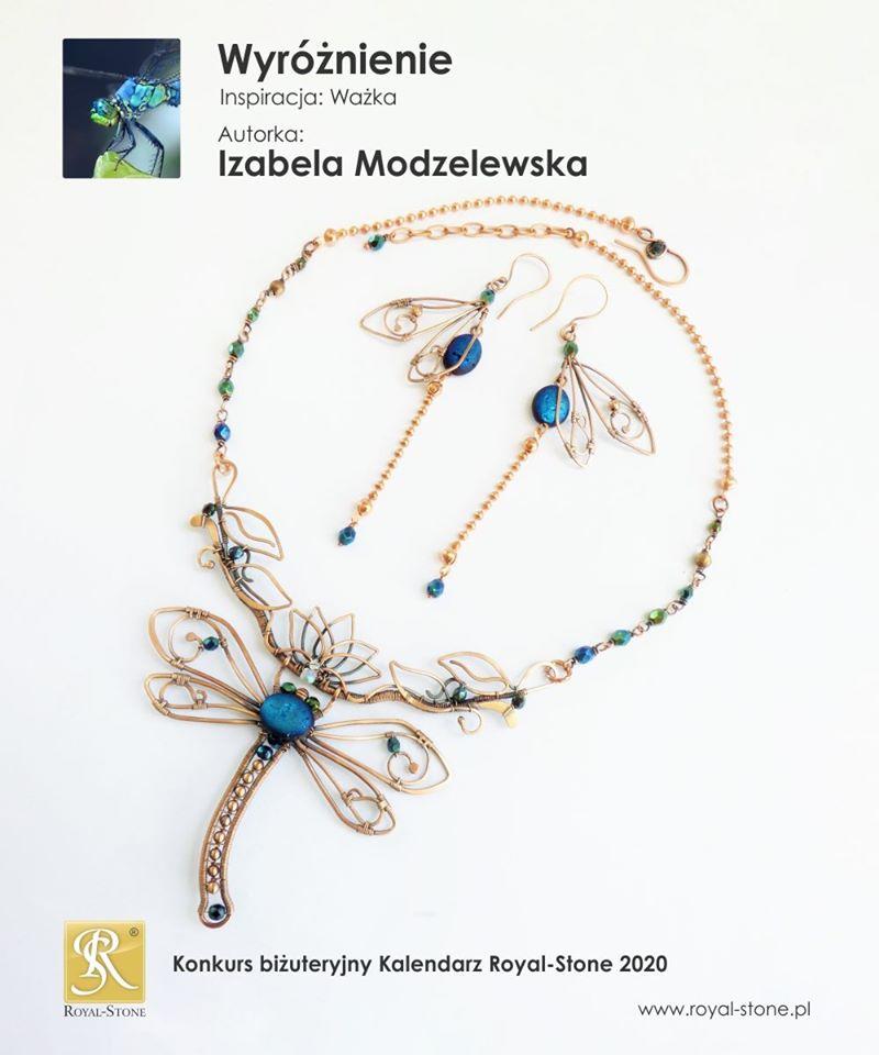 Komplet biżuterii z drutu miedzianego - wire wrapping Konkurs Kalendarz Royal-Stone2020