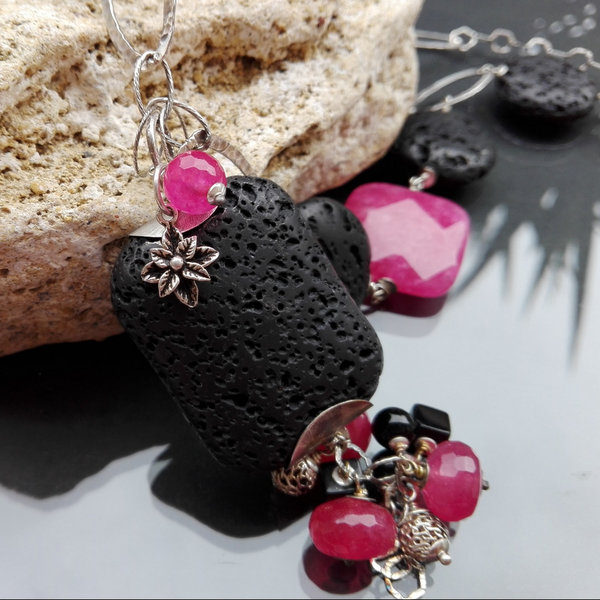 Agaty i lawa wulkaniczna biżuteria