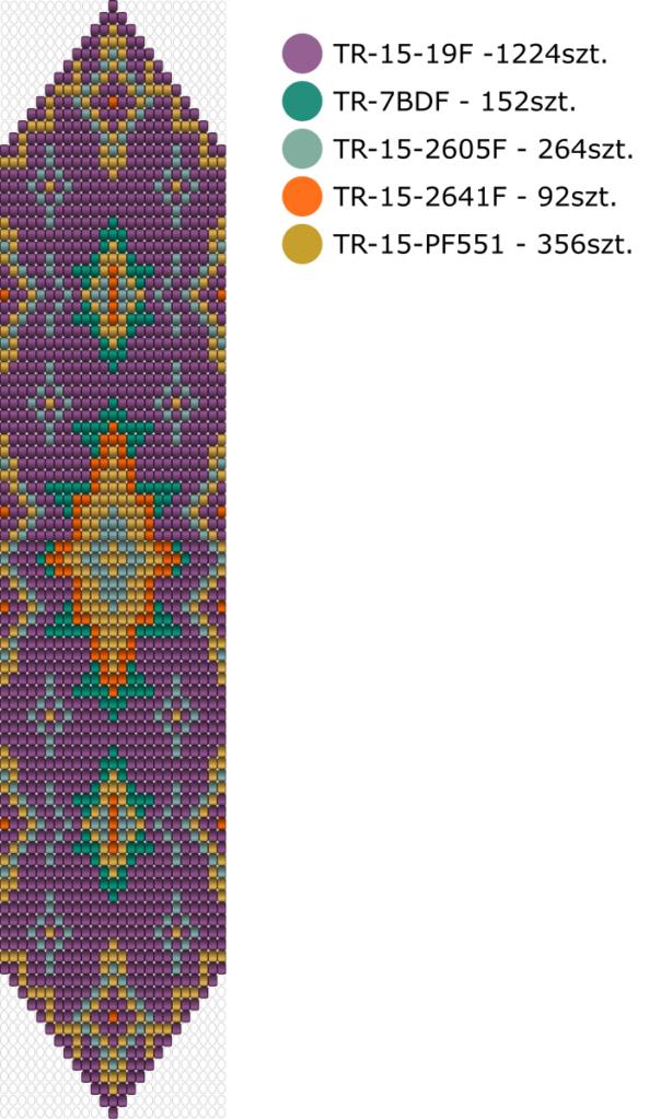 Schemat na bransoletke na krośnie - Sugar Plum Krosno wzór