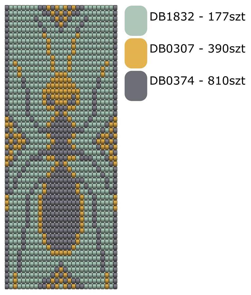 Krosno wzór Schemat na bransoletkę na krośnie - Mrówka